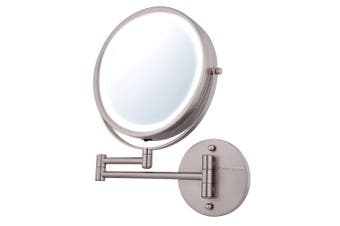 """(1x/7x Magnification, Nickel Brushed) - Ovente Wall Mount Mirror, 1×/7× Magnification, LED Ring Light, 8.5"""", Battery-Operated (MFW85BR1X7X)"""