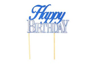 (Blue & Silver) - All About Details Happy Birthday Cake Topper, 1pc, birthday cake topper, birthday party decoration (Blue & Silver)