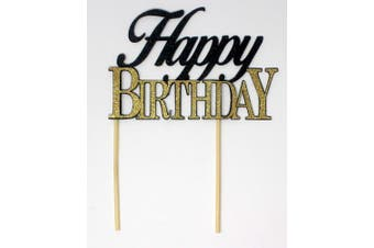 (Black & Gold) - All About Details Happy Birthday Cake Topper,1pc, birthday cake topper, Party Decor, Glitter Topper (Black & Gold)