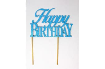 (Glitter Pastel Blue) - All About Details Happy Birthday Cake Topper,1pc, birthday cake topper, Party Decor, Glitter Topper (Glitter Pastel Blue)
