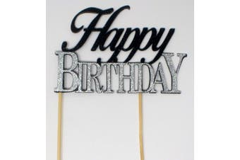 (Black & Silver) - All About Details Happy Birthday Cake Topper, 1pc, birthday cake topper, Party Decor, Glitter Topper (Black & Silver)