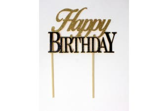 (Gold & Black) - All About Details Happy Birthday Cake Topper,1pc, birthday cake topper, Party Decor, Glitter Topper (Gold & Black)