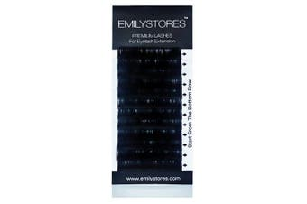 (9MM) - EMILYSTORES 0.05mm Thickness B Curl 9mm Length Lashes Silk Mink Eyelashes For Eyelash Extensions Single Size One Tray