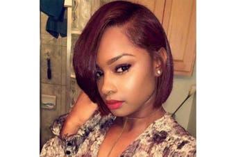 (99J color) - Synthetic Lace Front Wigs for Black Women Yaki Hair Heat Resistant Fibre Short Bob Wig Colour 99J
