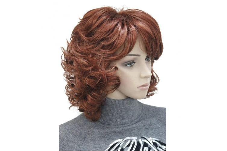 (#130-Fox Red) - Aimole Short Fox Red Curly Wig Synthetic Hair Women's Full Wigs #130