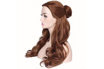 (Brown) - ColorGround Women's Long Wavy Brown Prestyled Cosplay Costume Wig with Detachable Bun