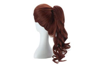 (Brown with Ponytail) - ColorGround Female Long Curly Brown Cosplay Wig with Ponytail