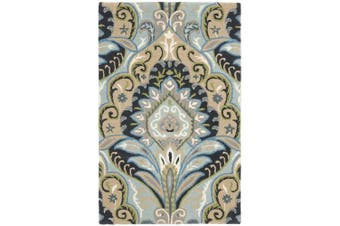 (0.6m x 0.9m, Blue/Multicolored) - Safavieh Wyndham Collection WYD374A Handmade Blue and Multi Wool Area Rug, 0.6m by 0.9m (0.6m x 0.9m)