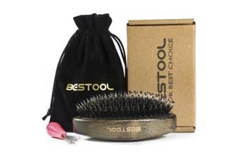 (#920) - BESTOOL Hair Brush-Boar Bristle Brush with Added Reinforced Nylon Pin, Detangler Brush For All Hair Types, Texture Curve Wave Brush Beard Brush For Men, 920 Travel Ready Palm Brush