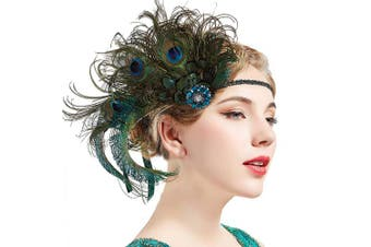 (Blue & Green) - BABEYOND 1920s Flapper Peacock Feather Headband Roaring 20s Beaded Showgirl Headpiece 1920s Great Gatsby Costume Hair Accessories (Blue & Green)