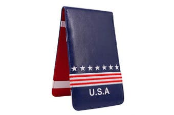 """(4.5"""" x 7.7"""") - Craftsman Golf USA Star Red Stripes Blue Pu Leather Scorecard & Yardage Holder Cover Also Can Customization Your Name Version"""