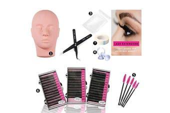 (1 Practice Set) - Dragon Grain Training Mannequin Head False Eyelashes Extensions Practise Set for Makeup Training and Eyelash Graft(1 Practise Set)