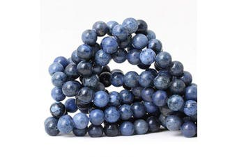 (10mm, Dumortierite) - CHEAVIAN 35PCS 10mm Natural Dumortierite Gemstone Round Loose Stone Beads for Jewellery Making Crafts Design 1 Strand 15""