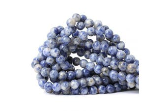CHEAVIAN 45PCS 8mm Natural Blue White Sodalite Gemstone Round Loose Beads for Jewellery Making 1 Strand 15""