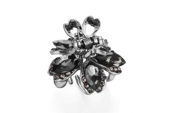 (Marquise Stone-Gray) - Cottvott Awesome Crystal Small Jaw Claw Fashion Metal Hair Clips For Women 4 Designs (BendStone-Grey)