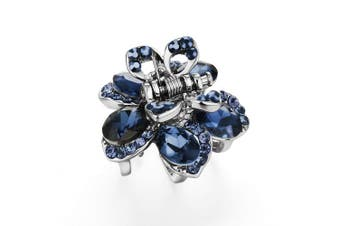 (Oval Stone-Blue) - Cottvott Awesome Crystal Small Jaw Claw Fashion Metal Hair Clips For Women 4 Designs (RoundStone-Blue)