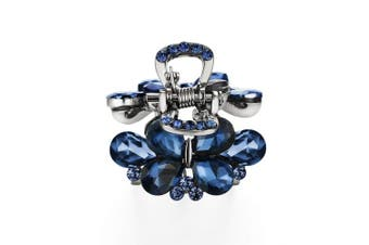 (Pear Stone-Blue) - Cottvott Awesome Crystal Small Jaw Claw Fashion Metal Hair Clips For Women 4 Designs (SymmetricStone-Blue)