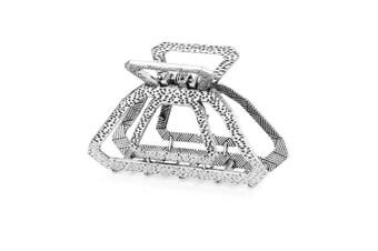 (Silver) - Cottvott Vintage Metal Hollow Square Hair Claws Clips Women's Hair Accessories 3Colors (Silver)