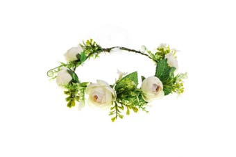 (White) - A Miaow Bridal Camellia Flower Headband Greenery Succulent Floral Crown Wreath Headpiece Maternity Photograph (White)