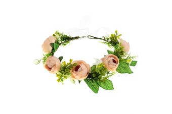 (Champagne) - A Miaow Bridal Camellia Flower Headband Greenery Succulent Floral Crown Wreath Headpiece Maternity Photograph (Champagne)