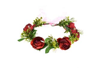 (Burgundy) - A Miaow Bridal Camellia Flower Headband Greenery Succulent Floral Crown Wreath Headpiece Maternity Photograph (Burgundy)