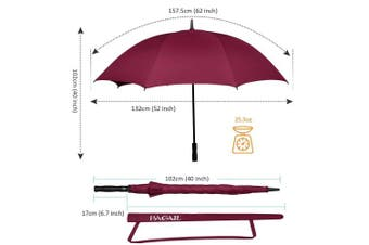 (150cm , Single Canopy-Burgundy) - BAGAIL Golf Umbrella 68/2.7cm Large Oversize Double Canopy Vented Windproof Waterproof Automatic Open Stick Umbrellas for Men and Women