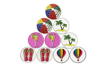 (Beach Series) - PINMEI Lot of 10 Golf Ball Markers Assorted Patterns - Soft Enamel Technique
