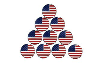 (American Flag) - PINMEI Lot of 10 Golf Ball Markers Assorted Patterns - Soft Enamel Technique