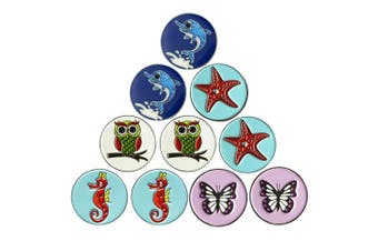 (Animal Series) - PINMEI Lot of 10 Golf Ball Markers Assorted Patterns - Soft Enamel Technique