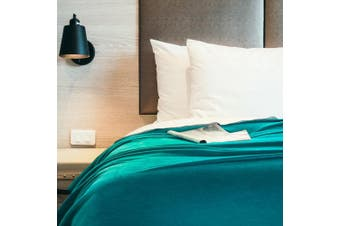 (Queen(230x230 cm), Teal) - Bedsure Flannel Blankets Bedspread Queen Size Teal Large Bed Fleece Blankets Super Soft Fluffy Warm Microfiber Solid Blanket 230x230cm