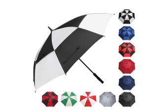 (150cm , Black/White) - BAGAIL Golf Umbrella 68/2.7cm Large Oversize Double Canopy Vented Windproof Waterproof Automatic Open Stick Umbrellas for Men and Women