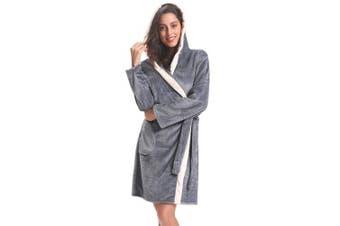 (Light Grey, XL) - Aibrou Womens Hooded Dressing Gown, Short Luxury Cosy Warm Bathrobe Housecoat Lounge Wear with Belt