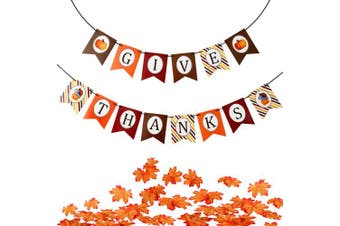 Chengu Thanksgiving Paper Banner Give Thanks Paper Bunting and Artificial Maple Leaves (100 Pieces) for Home and Outdoor Decoration