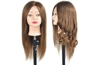 46cm Mannequin Head 100% Human Hair Hairdresser Training Head Manikin Cosmetology Doll Head (Table Clamp Stand Included)