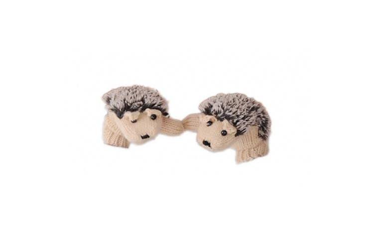 Huihuger Winter Girl Hedgehog Shape Knitted Glove-Beige for Ladies Gifts Presents
