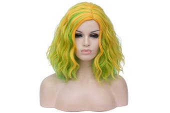(green mixed yellow) - BUFASHION 36cm Women Short Wavy Curly Wig green mixed yellow Bob Wig Cosplay Halloween Synthetic Wigs 26 Colours Available