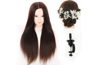 70cm Long Hair Synthetic Cosmetology Mannequin Manikin Training Head Model with Clamp and Gifts
