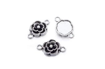 (Flower, Antique Silver) - Beadthoven 20pcs Tibetan Style Flower Antique Silver Connectors Link, Flower Connector for Jewellery Making Necklaces Bracelets Earrings,Lead Free and Cadmium Free