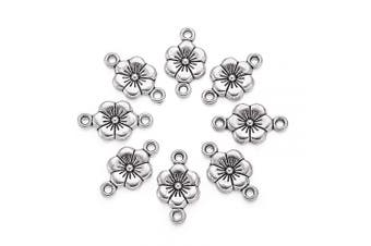 (Plum Blossom Flower, Antique Silver) - Beadthoven 50pcs Antique Silver Alloy Plum Blossom Flower Tibetan Style Beads Charms for Making Bracelets Necklaces Dangling Earrings Lead Free & Cadmium Free & Nickel Free, 18x10mm