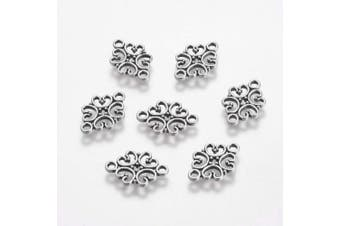 (Filigree Flower, Antique Silver) - Beadthoven 50pcs Antique Silver Hollow Flower Connectors Alloy Tibetan Style Filigree Flower Link Charms for Making Bracelets Necklaces Dangling Earrings Lead Free & Cadmium Free & Nickel Free,18x13mm