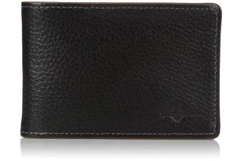 (One Size, Black With Tan Trim) - Buxton Men's Floater RFID Blocking Front Pocket Slimfold Slim Wallet