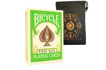 (Green) - Coloured Bicycle Playing Cards - Classic Rider Back Design- Includes Cascade Card Bag (Green)