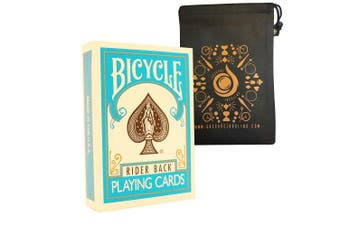 (Turquoise) - Coloured Bicycle Playing Cards - Classic Rider Back Design- Includes Cascade Card Bag (Turquoise)