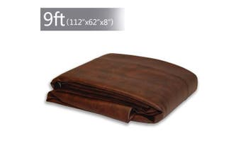 (Brown/9FT) - Boshen 7/0.3m Heavy Duty Fitted Leatherette Billiard Pool Table Cover Furniture Cover