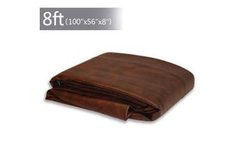 (Brown/7FT) - Boshen 7/0.3m Heavy Duty Fitted Leatherette Billiard Pool Table Cover Furniture Cover