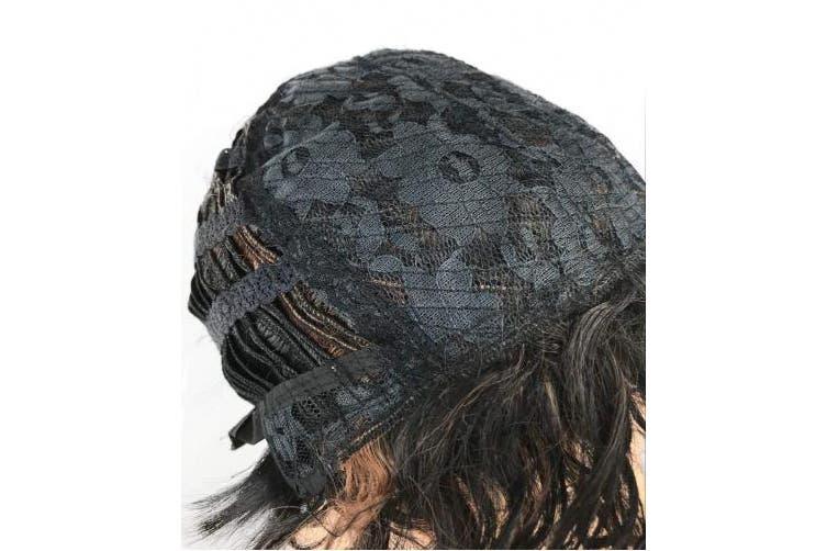 (#1B+30) - Wiginway Women's Wigs Asymmetrical Side Bang Short Curly Synthetic Hair Black Mixed Brown wig for women (#1B+30)