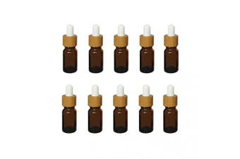 (10ml) - Mini Amber Glass Bamboo White Rubber Head Bottle with Glass Eye Dropper for Essential Oil Pack of 10 (10ml)