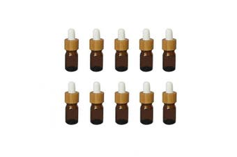 (5ml) - Mini Amber Glass Bamboo White Rubber Head Bottle with Glass Eye Dropper for Essential Oil Pack of 10 (5ml)
