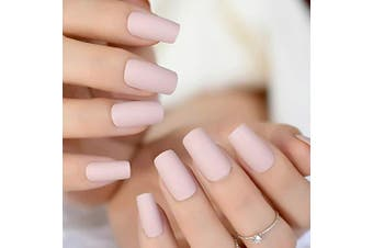 CoolNail Soft Pink Purple Matte False Nails Light Lilac Colour Frosted Women Fake Nail Square Top Finish Designs Finger Nail Art Tips