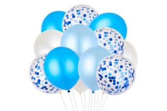 Howaf 40 Pieces 30cm Confetti Balloons White & Blue Latex Balloons Helium Balloons Party Supplies for Wedding Birthday Baby Shower Party Decoration